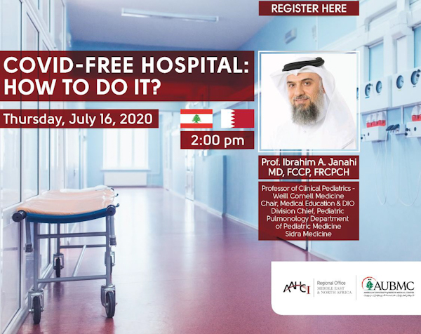 AAHCI-MENA Webinar | COVID-Free Hospital: How to do it? Banner